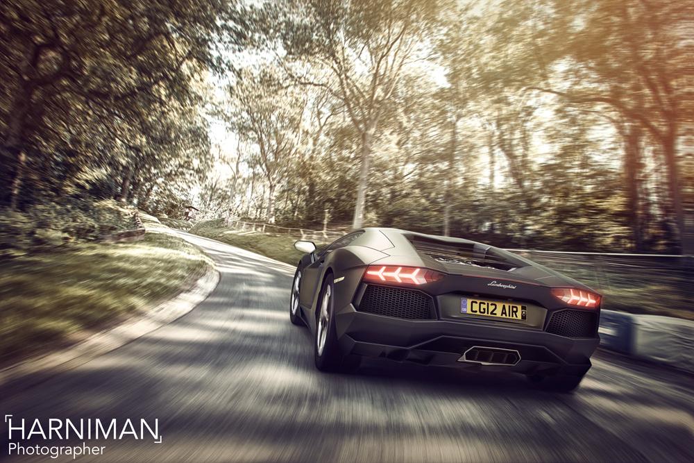 Lamborghini Aventador gunning the hill at Shelsley Walsh