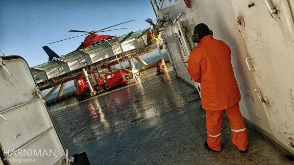Helicopter on the ships helipad in the North Sea