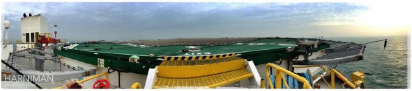 Panoramic view of the ships helipad.