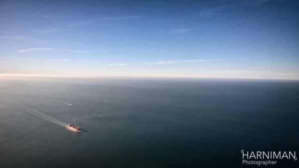 View from the helicopter over the North Sea enroute to the pipe-laying vessel