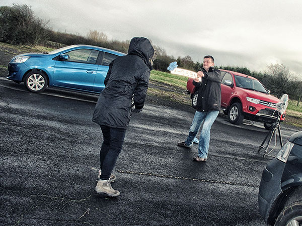 Mitsubishi Mirage BTS on location