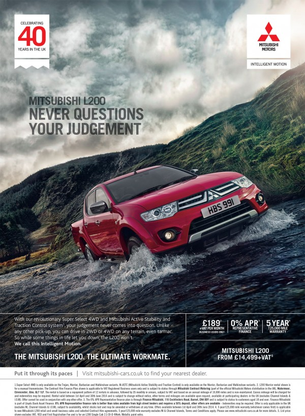 Mitsubishi 2014 L200 press ads