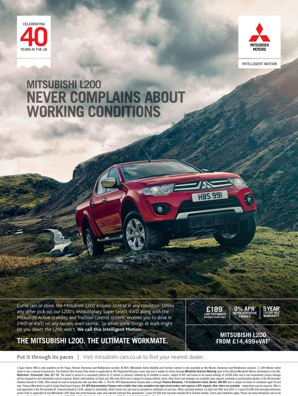 MItsubishi L200 'Never Complains About Working Conditions' 2014 press ad