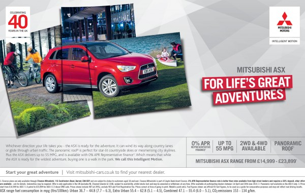 Mitsubishi ASX 2014 'For Life's Great Adventures' ad