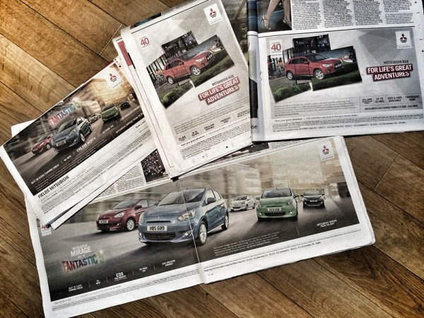 Mitsubishi press ads in various crops & formats