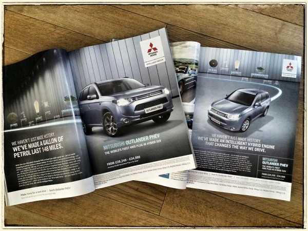 Mitsubishi Outlander PHEV press ad in Top Gear and CAR magazine this week