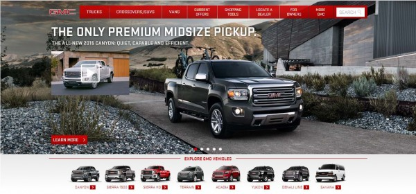 GMC homepage - one of the online  image uses