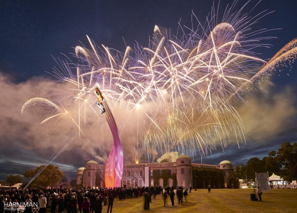 Fireworks over Goodwood House and the Mazda installation