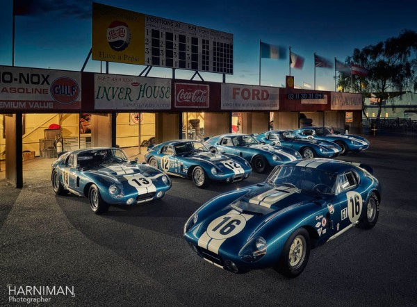 The historic meeting of all six Shelby Daytona Cobra at Goodwood Revival 2015