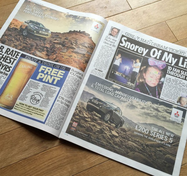 Two Mitsubishi press ads in The Sun newspaper this week