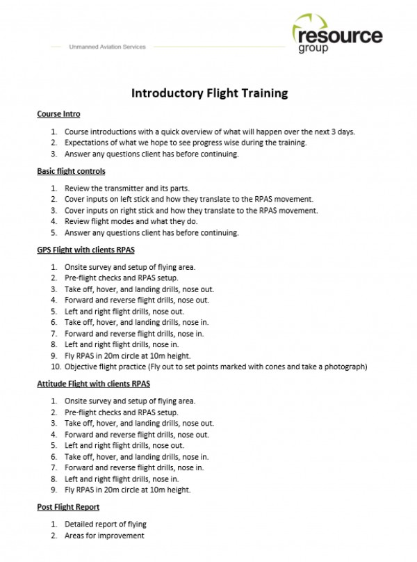 Resource Group Flight Training
