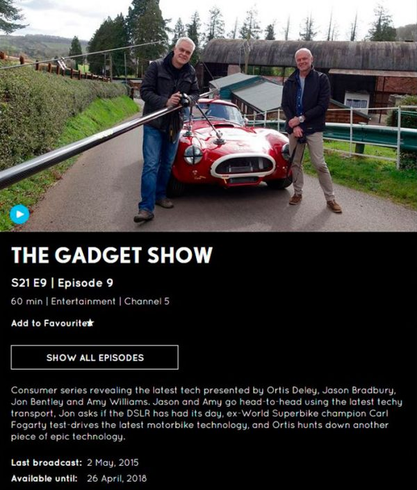 The Gadget Show filmed last year with Martin, Jon Bentley & the NorthOne team for Channel 5