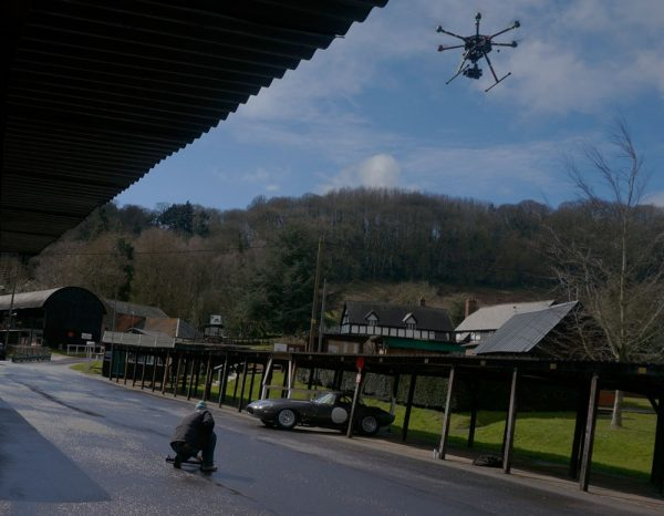 Aerial drone filming of the Jaguar E-Type Lightweight