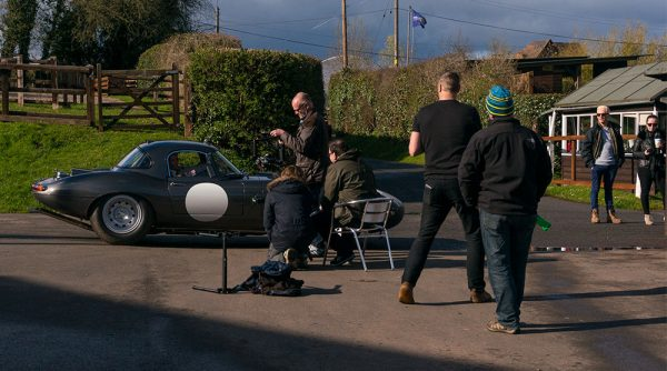 Interview filming with Katarina in the Jaguar E-Type Lightweight