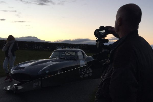Sunset for the rig shots of the Jaguar E-Type Lightweight