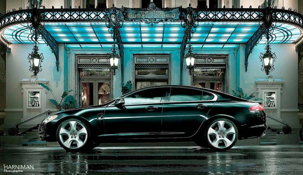 One of the Jaguar XF launch images shot in Monaco outside the Casino