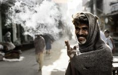 Indian man smoking